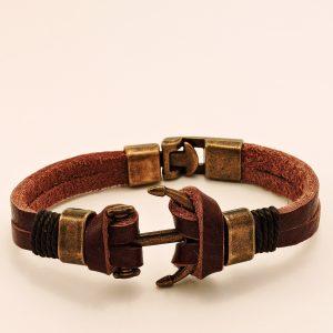 Bracelet en cuir pour homme avec ancre