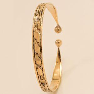Bracelet ouvert en laiton doré