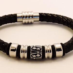 Bracelet en cuir et acier inoxydable