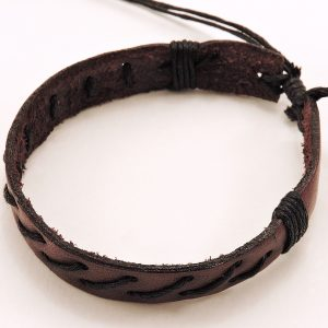 Bracelet en cuir et cordon pour homme marron et noir