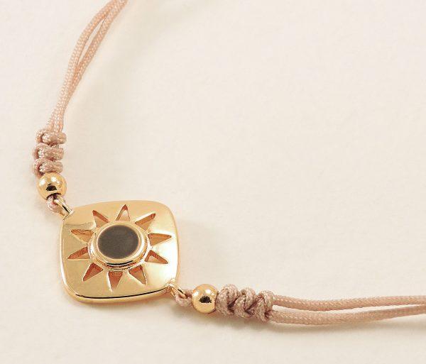 Bracelet réglable en tissus et métal doré