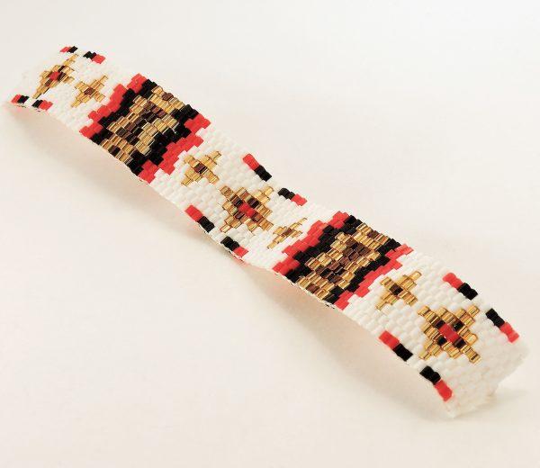 Bracelet réglable en perles blanches, rouges, noires et dorées